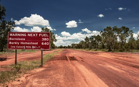 Road sign in Northern Territory road, Australia