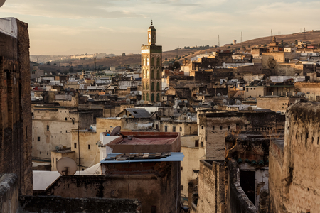 Buildings of Fes medina at sunset, Morocco