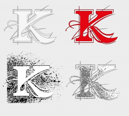 dekorative symbol K, vector illustration, clip art