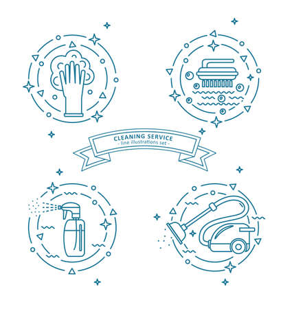 Set of cleaning service illustrations.