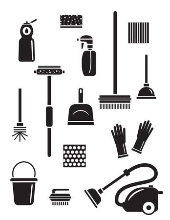 Set of cleaning service icons. Isolated black silhouettes. Illustration of different cleaning tools and household goods.