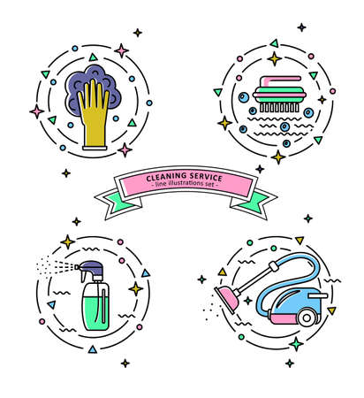 Set of colorful cleaning service illustrations.