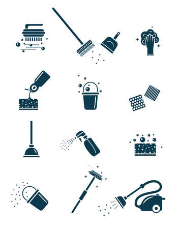 Cleaning tools icons set.