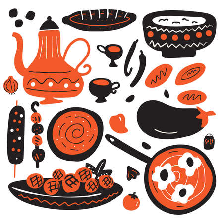 Illustration pour Funny hand drawn illustration of traditional middle eastern cuisine. Isolated on white background. Vector design. - image libre de droit