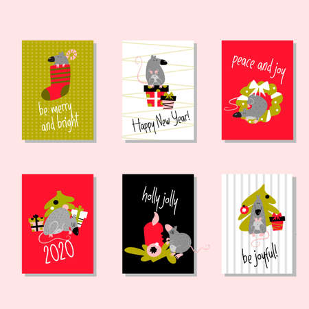 Illustration for Set of funny christmas cards with rats and greetings. Invitation, poster. - Royalty Free Image