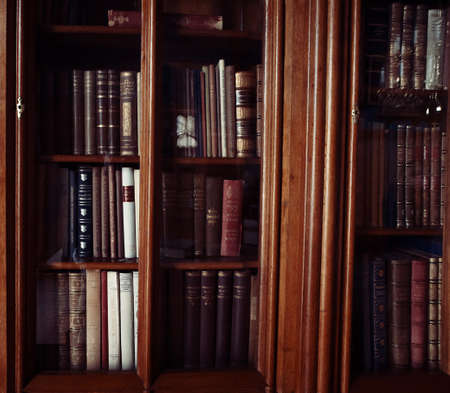 historic books in a old library