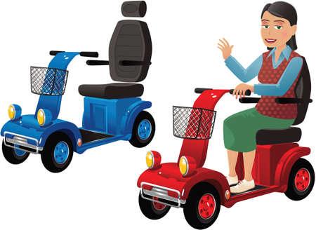 Illustration pour Two images of a modern electric mobility buggy. - image libre de droit
