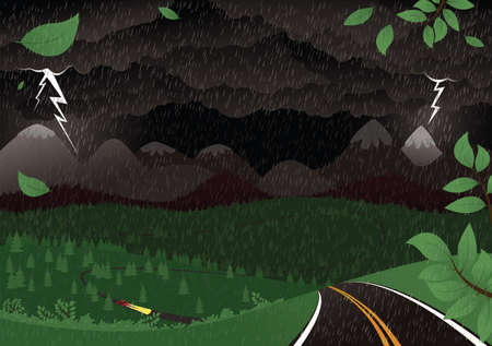 An illustration of a moutainous landscape during a thunderstorm at night.