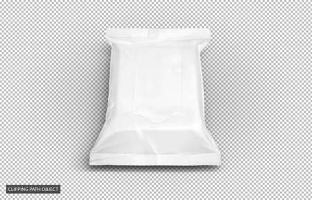 Photo pour blank packaging white plastic baby wipes pouch or tissue paper bag isolated on virtual transparency grid background with clipping path ready for cosmetics product design - image libre de droit