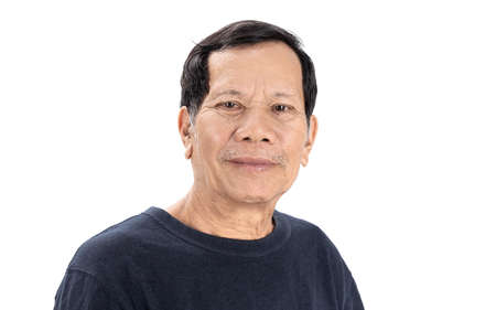 Photo for old wrinkled asian man portrait with good mood and wear navy blue T-shirt isolated on white background - Royalty Free Image