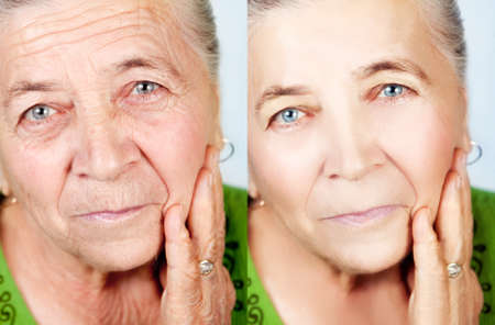 Beauty and skincare concept - senior woman without aging wrinklesの写真素材