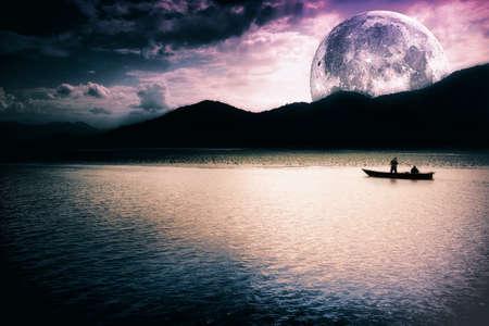 Fantasy landscape - moon, lake and fishing boat