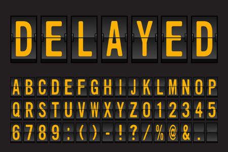 Ilustración de Airport Mechanical Flip Board Panel Font - Yellow Font on Dark Background Vector Illustration - Imagen libre de derechos