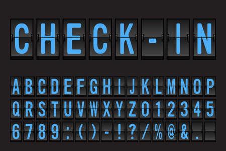 Ilustración de Airport Mechanical Flip Board Panel Font - Blue Font on Dark Background Vector Illustration - Imagen libre de derechos