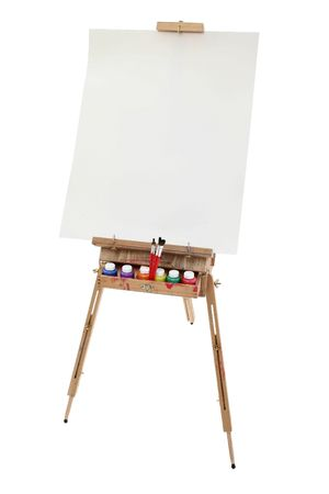 School art easel, washable paints and brushes.  Blank poster board canvas for adding text.  Shot in studio over white.