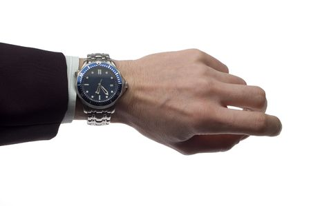 business man hand with wrist watch on white
