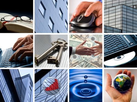 Conceptual image grid of business photos - from start to finish