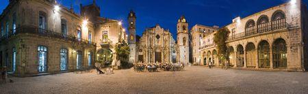 Plaza de la catedral in Havana vieja panoramic shoot at dusk - Cuba