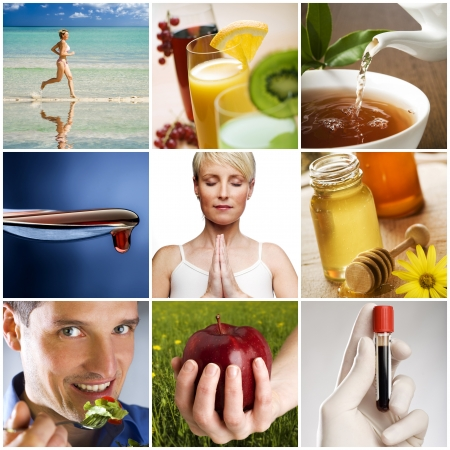 Photo for beautiful healthy lifestyle theme collage made from nine photographs - Royalty Free Image