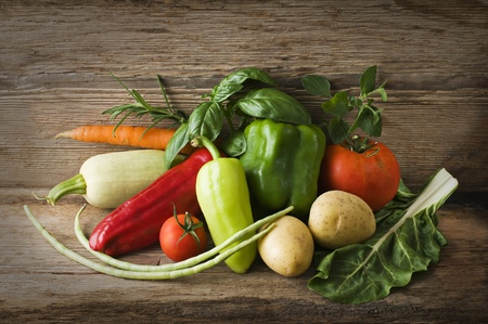 Fresh organic vegetables on a table close up
