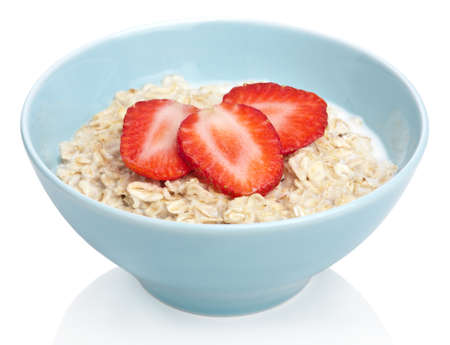 porridge with fresh strawberry isolated