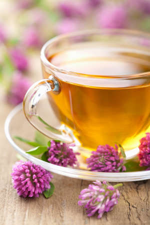 Photo for herbal tea and clover flowers  - Royalty Free Image