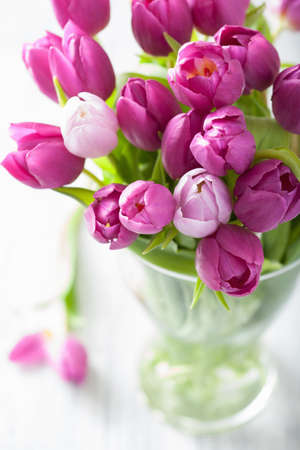 Photo pour beautiful purple tulip flowers bouquet in vase - image libre de droit