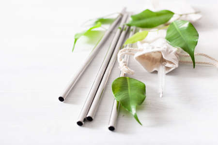 Photo for eco-friendly reusable metal drinking straw. zero waste concept - Royalty Free Image