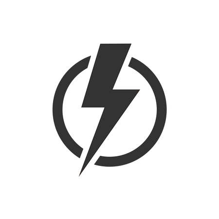 Illustration pour Lightning bolt in the circle graphic icon. Energy sign isolated on white background. Electric power symbol. Lightning bolt icon. - image libre de droit