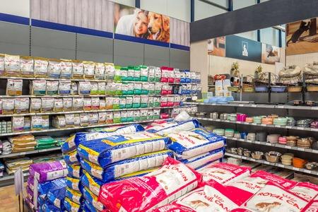 NETHERLANDS - ALPHEN AAN DEN RIJN - OKTOBER 1, 2017: Dog department in garden center De Bosrand in Alphen aan den Rijn in The Netherlands.
