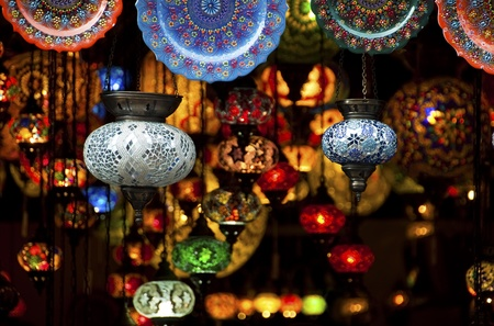 Colorful Arabic lantern and plates in a souk