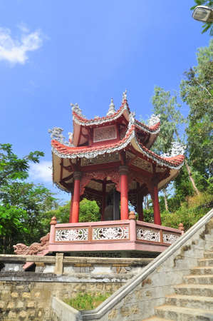A traditional Chinese pagoda in a temple in asia