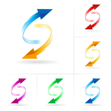Set #3 of different colored arrow circles isolated on the white