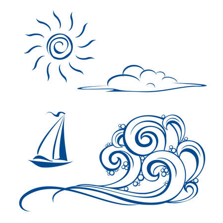 Boat waves, clouds and sun. illustration on white