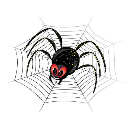 Illustration of cute black widow Spider on web