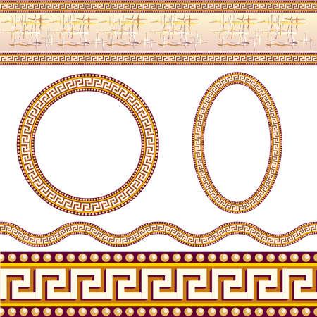 Greek border patterns. Illustration on white background