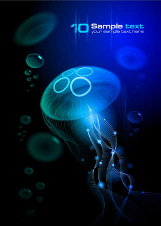 Illustration pour Jellyfish at the black background  Vector illustration  - image libre de droit