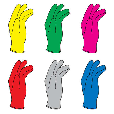 Six illustration of colors rubber gloves.