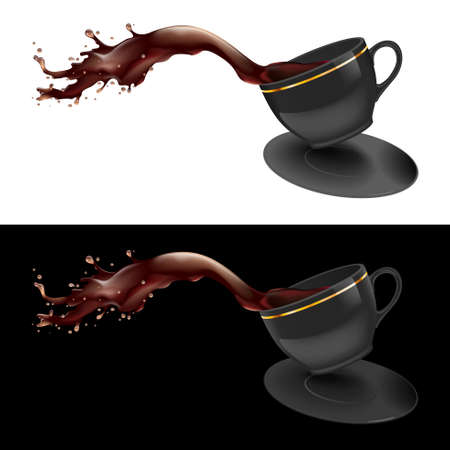 illustration of coffee splashing out of a mug. Black design.