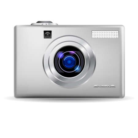 Simple digital camera. Illustration on white background