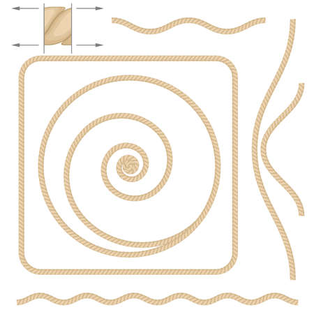 Abstract beige rope. Illustration on white background