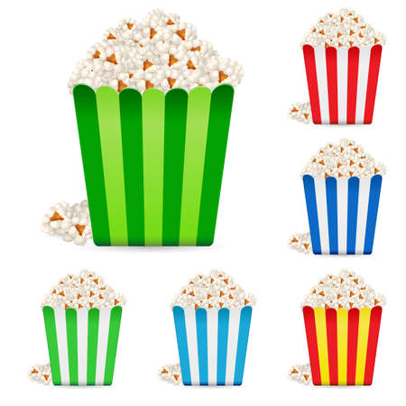 Popcorn in multi-colored striped packages. Illustration on white background