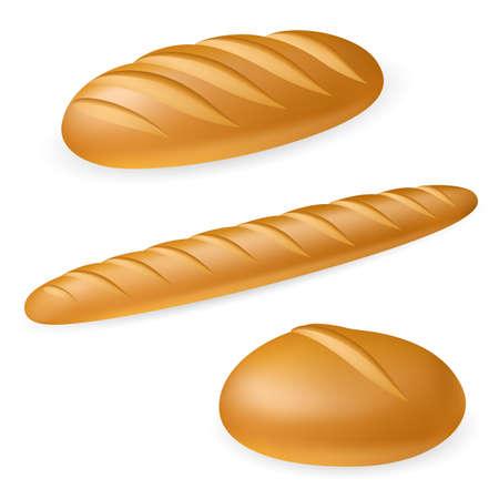 Vektor für Three realistic bread. Illustration on white background  - Lizenzfreies Bild