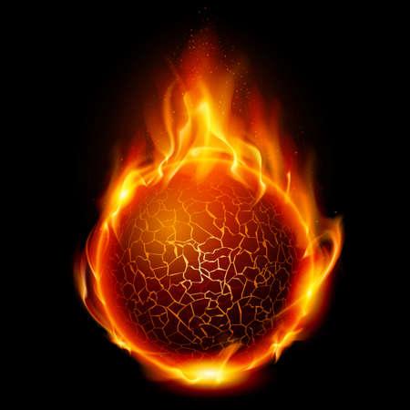 Fire ball. Illustration on black background for design