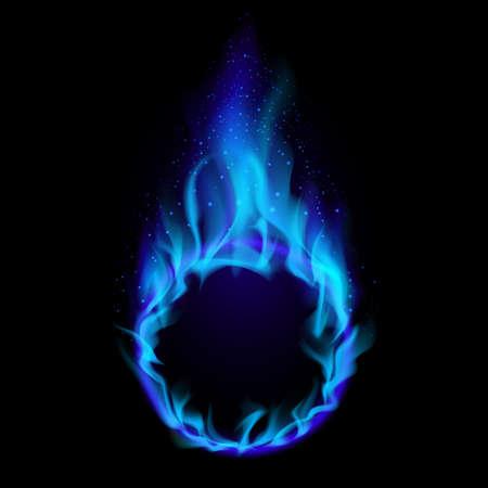 Blue ring of Fire. Illustration on black background for design