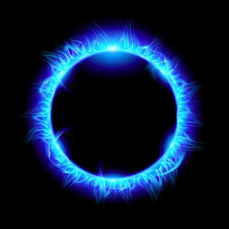 Blue Solar eclipse. Illustration on black background for design