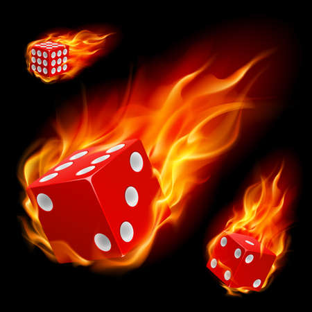 Dice in fire. Illustration on black background