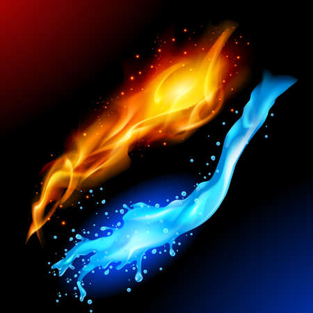 Illustration pour A bright blue and yellow orb circle representing the elements of fire and water. - image libre de droit