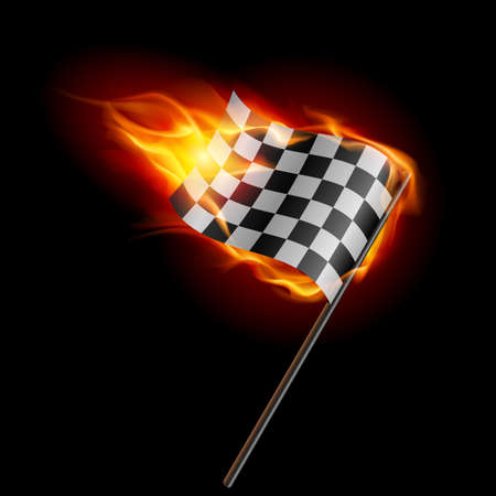Illustration of the burning checkered racing flag on black