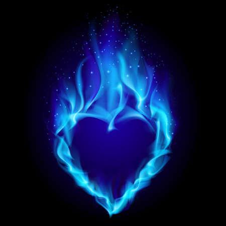 Heart in blue fire. Illustration on black background for design